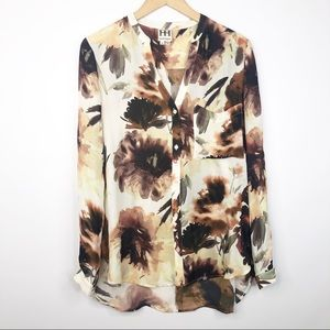 Haute Hippie Fall Floral Silk Long Sleeve Top